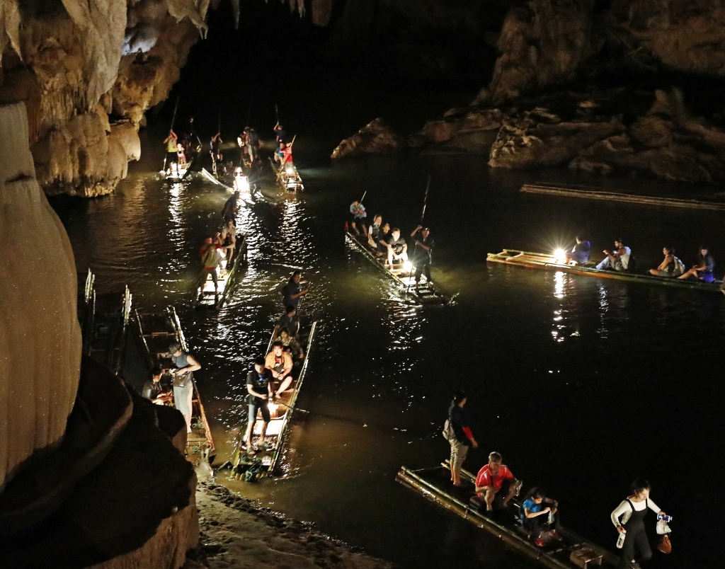 Bamboo rafts in Lod Cave, Pai
