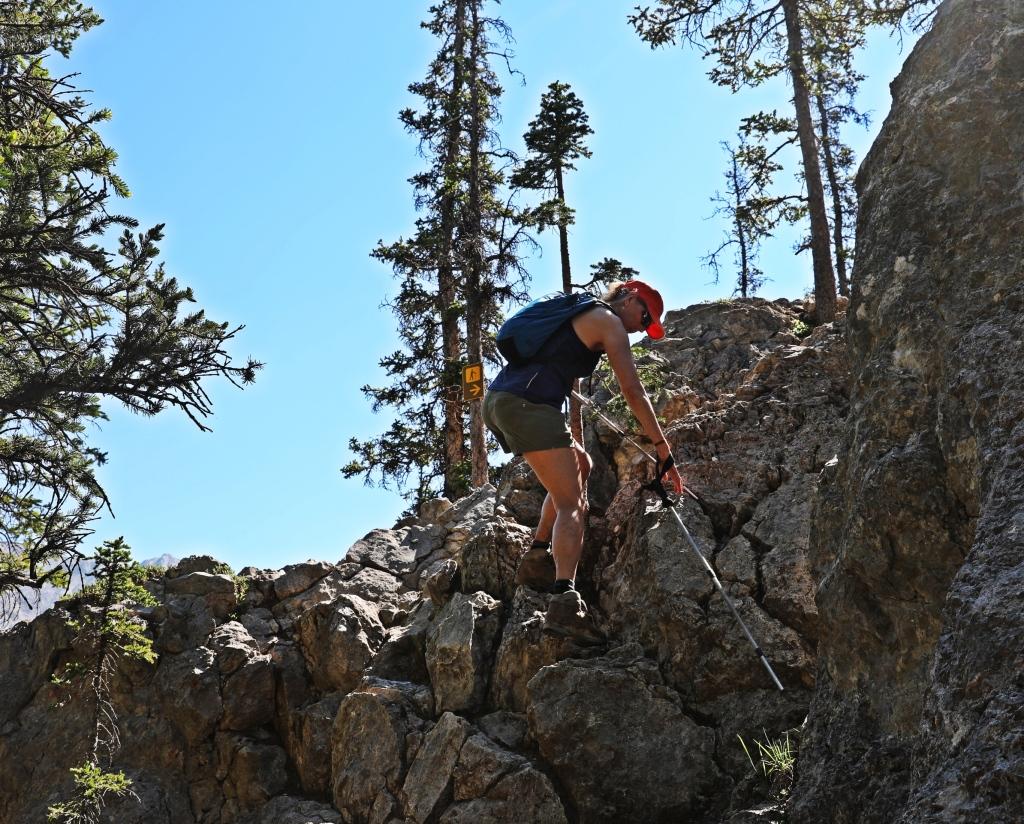 Scramblling, Cory Pass Trail, Banff National Park