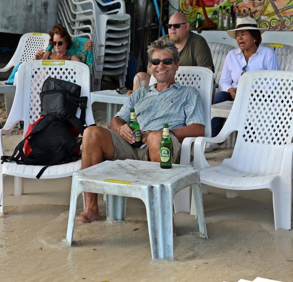 Having a beer on Chaweng Beach, Koh Samui
